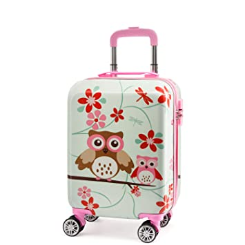 3df35dec5bd7 Lttxin Kids' suitcase 19 inch Polycarbonate Carry On Luggage Lovely Hard  Shell(upgrade perfect printing) (up-owl)