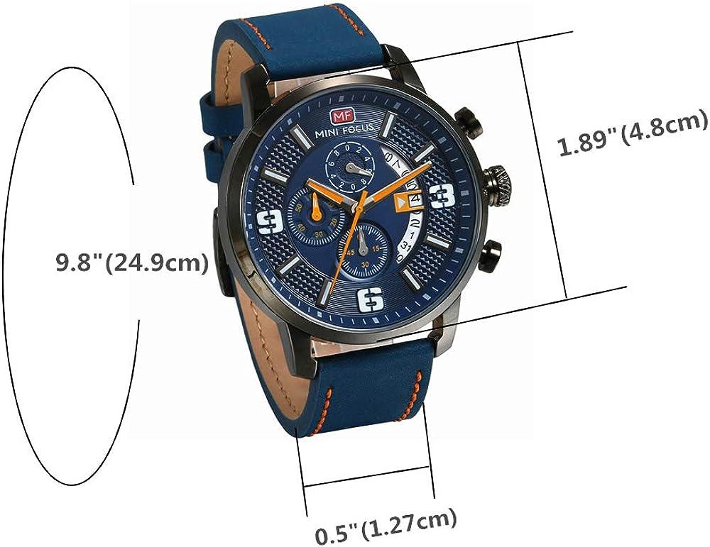 Avaner Montre Homme Quartz Bracelet en Cuir 3ATM Etanche Multifonctionnel Montre Sport avec Boite Bleu