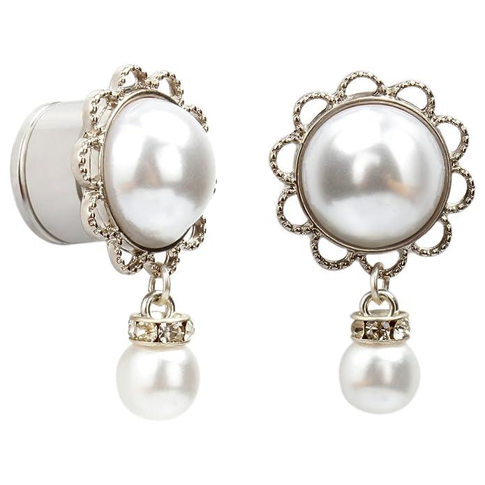 Amazon.com: KUBOOZ Aretes expansores de aro de perla ...