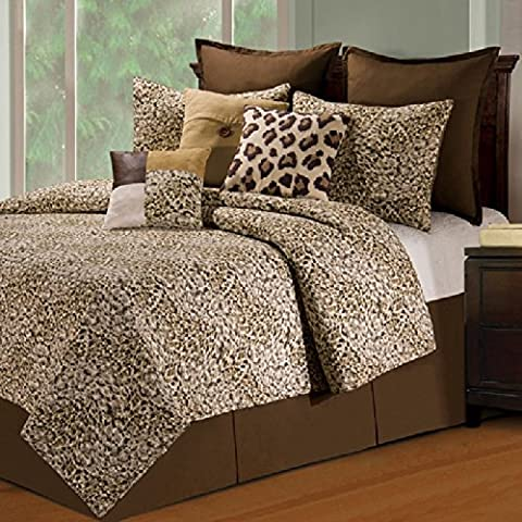 1 Piece Kids Leopard Themed Quilt Full/Queen, Beautiful All Over Jungle Animal Print, Multi African Safari Animals Exotic Wildlife Pattern, Printed Reversible Bedding, Vibrant Off-White Brown Tan