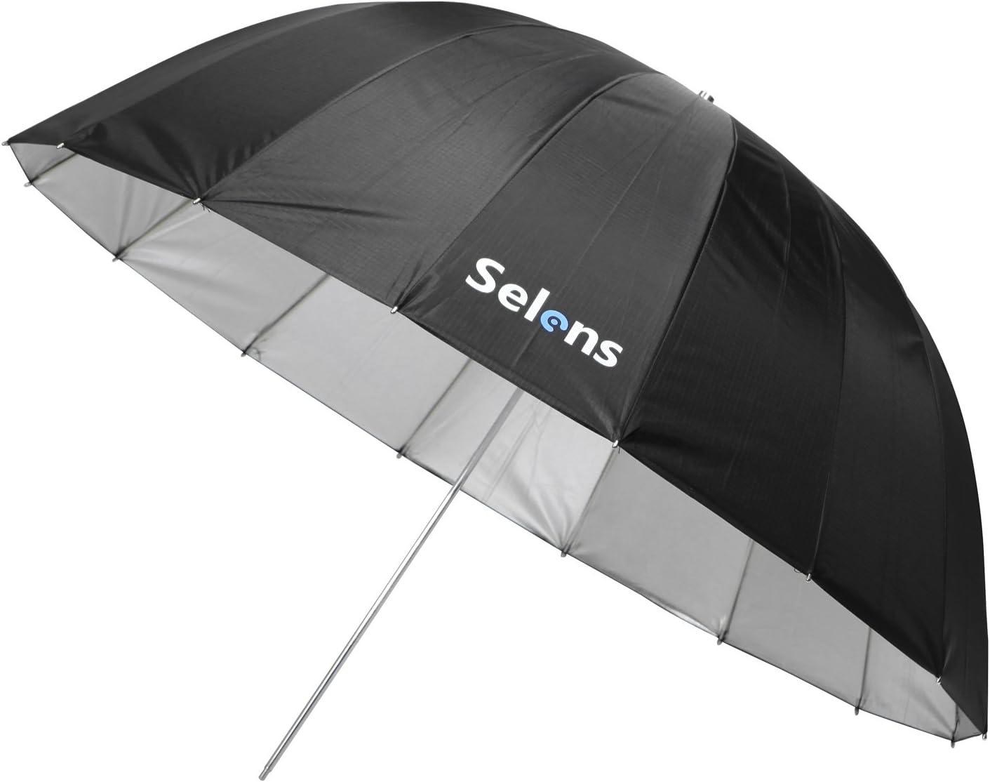 Selens 65 Inch 16 Rods Professional Photography Photo Studio Parabolic Reflective Lighting Umbrella, 23 Inch Depth Black/Silver