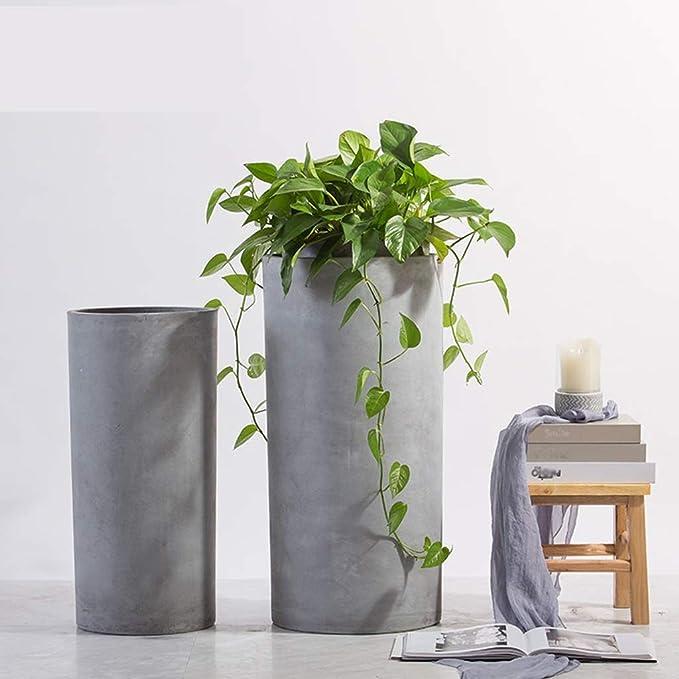 Amazon.com: CSQ Cemento cilíndrico maceta de flores – Maceta ...