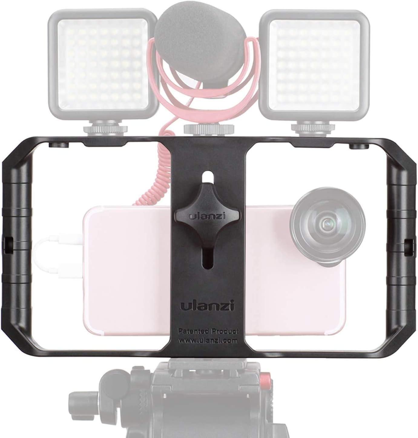 ULANZI U-Rig Pro Jaula de vídeo para iPhone Incluye 3 Soportes para Zapatos fríos, estabilizador de vídeo, videocámara para iPhone 11 Pro MAX XR SE 2020 8 7 Plus Samsung Xiaomi Huawei