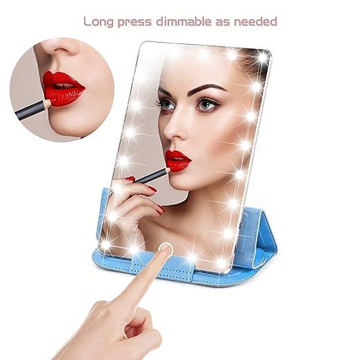 Amazon.com: Azul viento espejo de maquillaje con luz, luz de ...