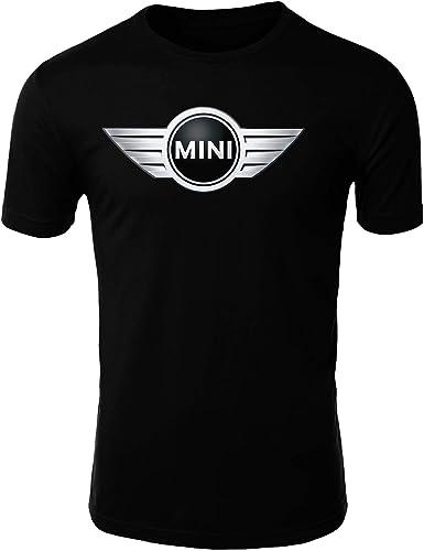 Mini Cooper Logo Camiseta Hombre Coche Clipart Car Auto tee Top Negro Blanco Mangas Cortas Presente