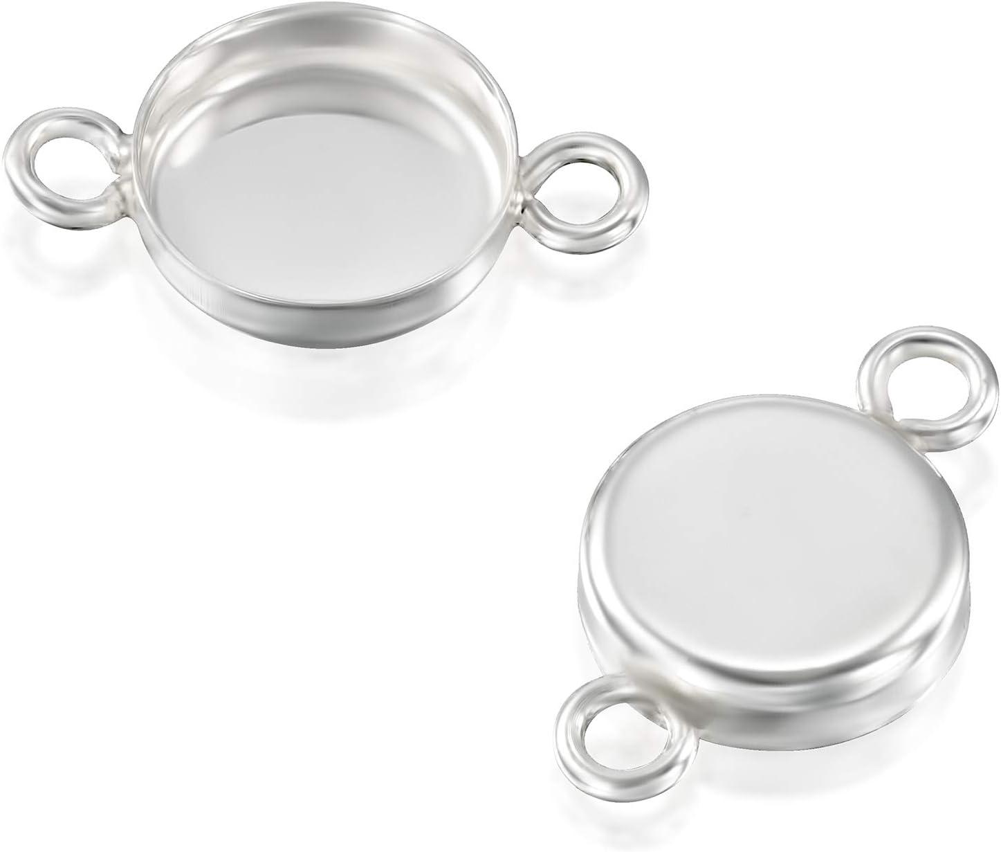 Juego de 6 piezas de 8 mm con 2 aros de plata de ley 925 para pulseras, colgantes y pendientes