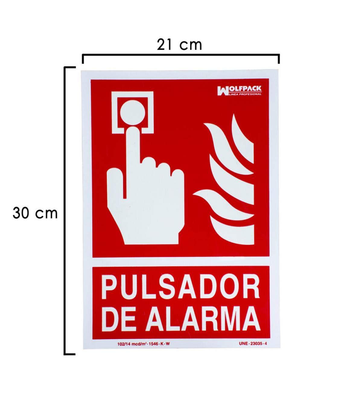 Wolfpack 15051210 Cartel Pulsador Alarma 30x21