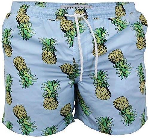 Brave Soul Mens Pineapple Print Swimming Shorts Pineapple