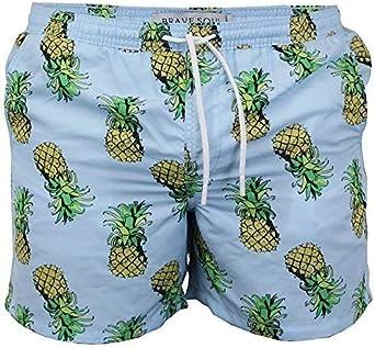 Brave Soul Mens Swimming Shorts Pineapple Print Beach Trunks Mesh Lined Summer