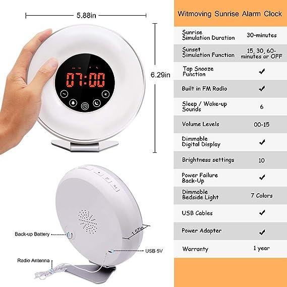 Amazon.com: TXOTO Wake-up Light, Sunrise Simulator, Automatic Brightness Adjustment Natural Sound FM Radio Night Light, Touch Control Illuminated Alarm ...