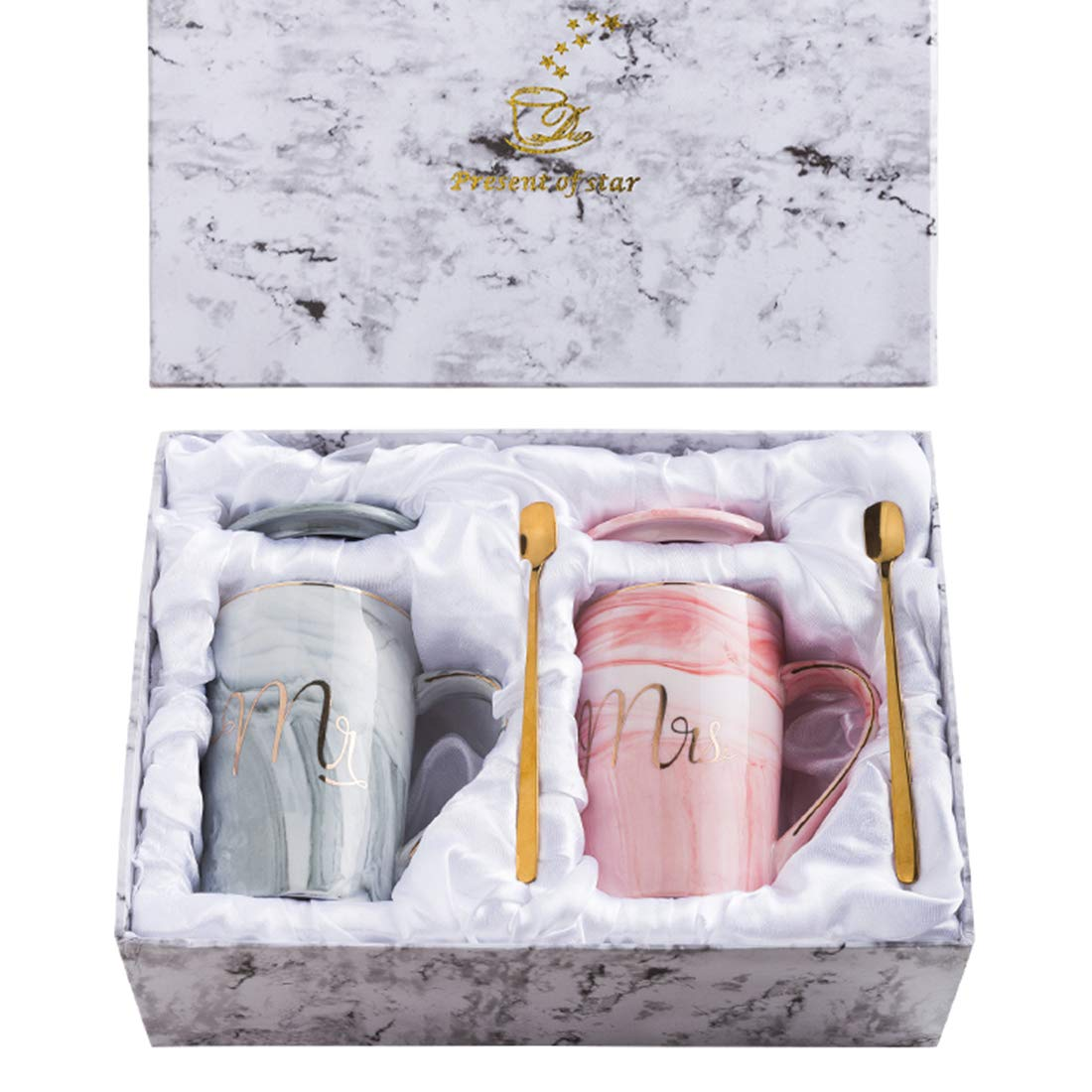 marble mug set of 2 mr. and mrs.