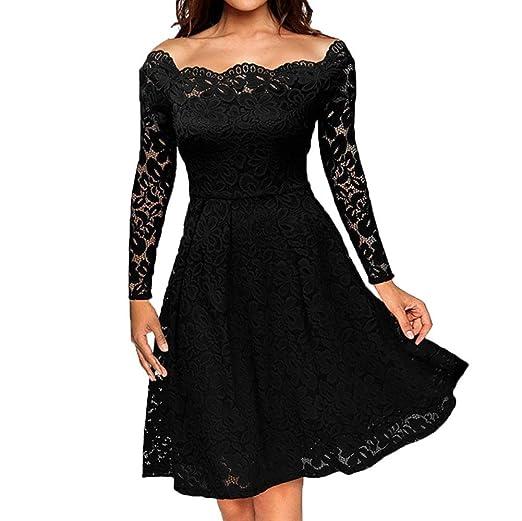 POTO Formal Dresses,Women Vintage Off Shoulder Floral Lace Evening Party Dress,Long Sleeve