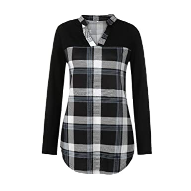 8daf1ff0f88756 Amazon.com: TIANRUN Women V-Neck Color Plaid Lattice Splicing Long Sleeves  Top Shirt Easy Blouse Women's Casual Long Sleeves: Clothing