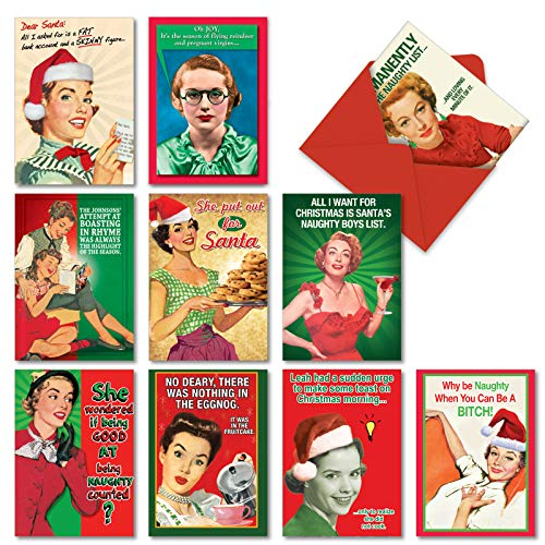 10 Naughty is Nice Boxed Funny Christmas Cards With Envelopes (4.63 x 6.75 Inch) - Vintage Assorted Greeting Cards From Women, Wife, Girls - Retro, Hilarious Happy Holiday & Merry Xmas Cards A1255 (Cards Naughty Or Christmas Photo Nice)