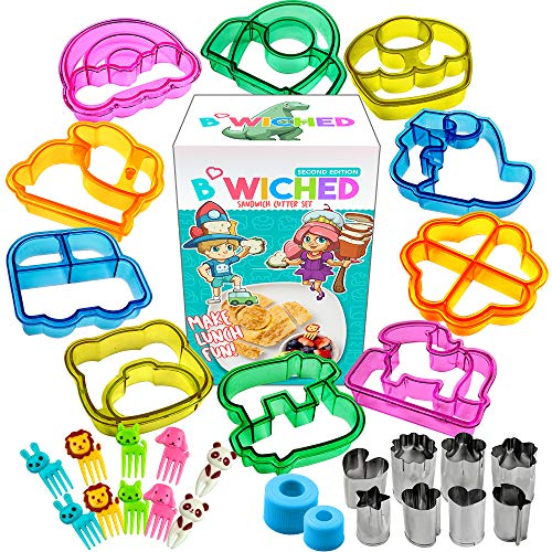 Sandwich Cutters for Kids - Great for Toddler Lunch Box and Containers - Bento Box Accessories and Uncrustable sealer - For Boys and Girls Kids Lunch - Includes Food Picks Vegetable and Fruit Cutter