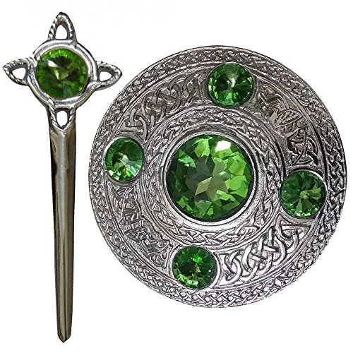 - Scottish Fly Plaid Brooch Irish Green 5 Stones Chrome Finish Celtic Knot Kilt Pin Stone Ladies Shawl Sash Brooches