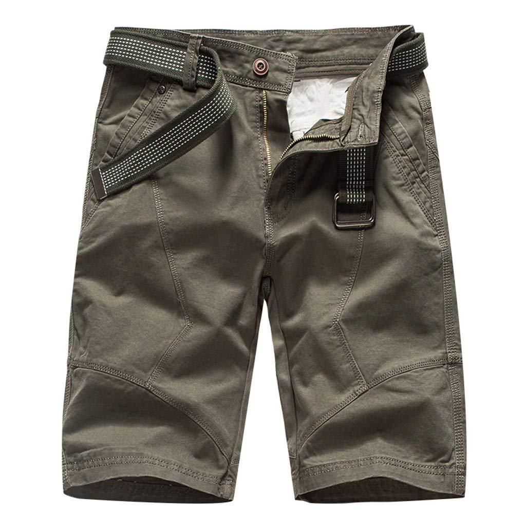 Pantalones Cortos Cargo para Hombre Moda Color Sólido Algodón Cómodo Transpirables Corte clásico Slim Fit Pantalones Casuales de Negocios Size 28-38 MMUJERY