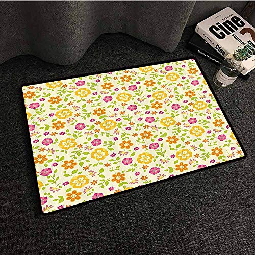 Floral Outdoor Door mat Colorful Spring Themed Flower Petals Summer Florets Funky Girls Design Non-Slip Door mat pad Machine can be Washed W20 xL31 Pink Marigold Lime Green
