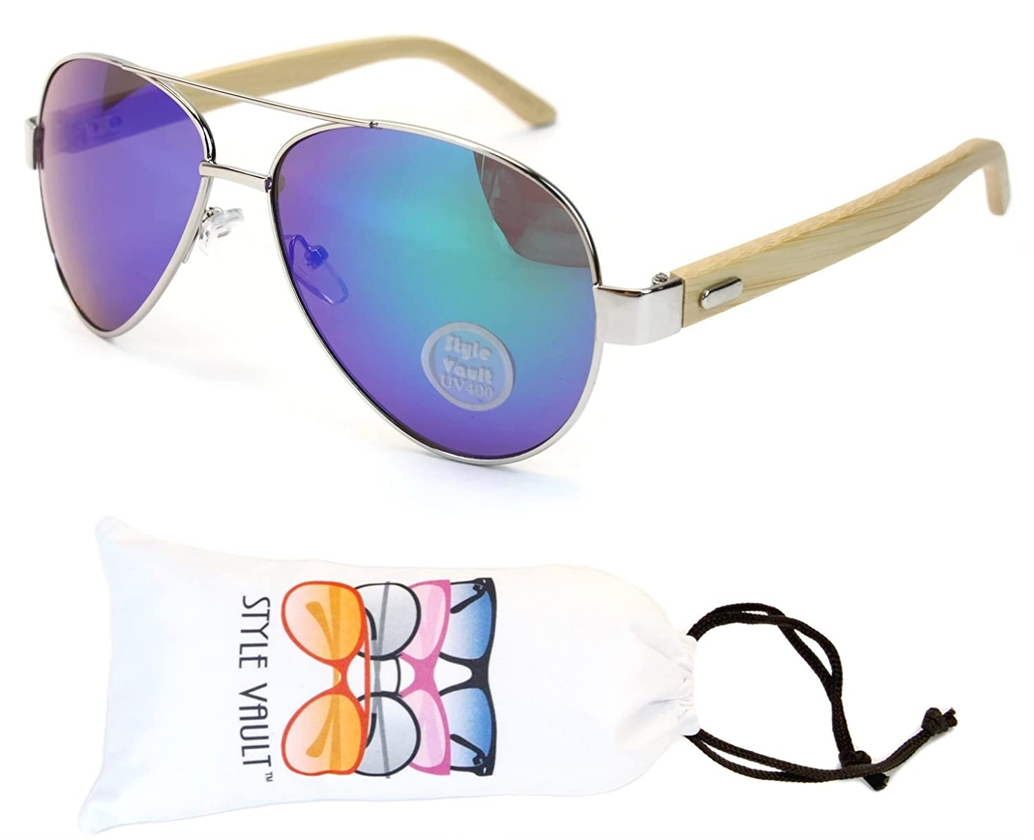 """A65-vp Style Vault """"Real Wood Arms"""" Aviator Sunglasses"""