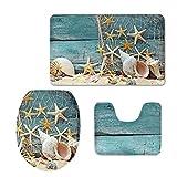 CHAQLIN Stylish Comfort Washroom Decor Starfish Sea Shell 3 Pcs Bath Doormat U Contour Rug Toilet Lid Cover