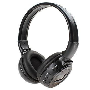 N65 Sobre la oreja los auriculares con cancelación de ruido de radio FM Auriculares Auriculares inalámbricos con auriculares Digital Pantalla LCD(Negro): ...