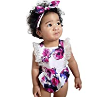 Familizo Kids Outfits, ❤️ Lovely Fashion 2PCS Toddler Newborn Infant Baby Girls Sleeveless Lace Floral Print Vest Romper+Headbands Outfits Clothes Sets for 0-24 Months Kids