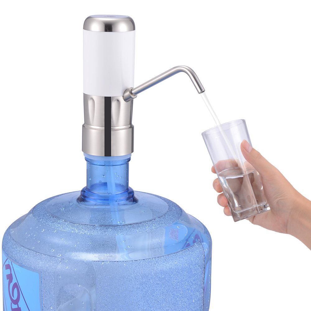 Drinking Water Pump Electric Dispenser 5 Gallon Bottle Desk Top Powerful Rotational Portable for Home Kitchen Office Use with Switch and Power Adapter