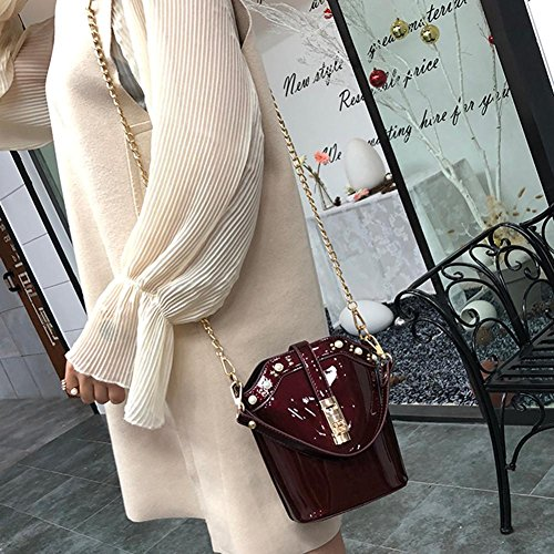 Wine Chain Bright Bag Messenger Bucket FINIFLY Handbag PU Red Women Shoulder 11qnAH