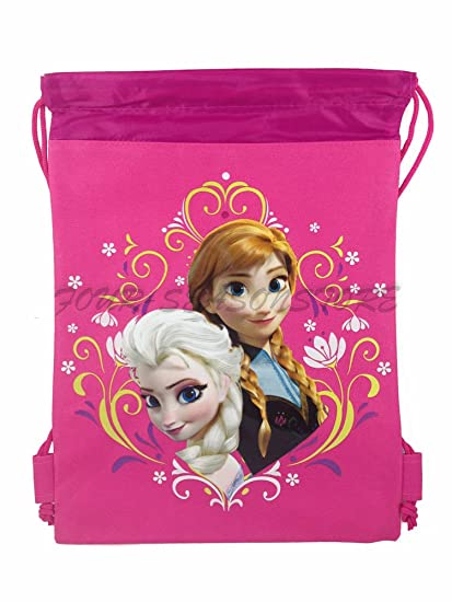 117b3aed1cf Amazon.com  New Disney Frozen Queen Elsa Drawstring String Backpack School  Sport Gym Tote Bag!- Pink  Sports   Outdoors
