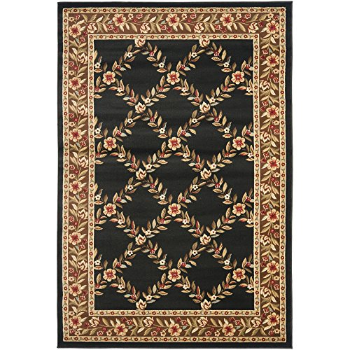 Safavieh Lyndhurst Collection LNH557-9025 Traditional Floral Trellis Black and Brown Area Rug (6'7