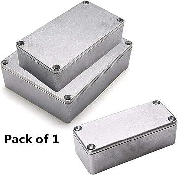 Supertool - Caja de aluminio fundido resistente al agua para proyectos electrónicos, caja de cierre para alimentación externa, exterior (1 unidad), plateado: Amazon.es: Bricolaje y herramientas