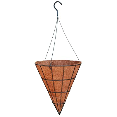 "14"" Cone Shaped Grower Hanging Basket (ST) with Liner and Rigid Hanger: Garden & Outdoor"