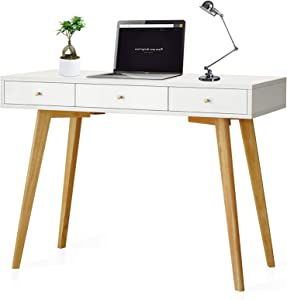 White Writing Desk Small Computer Desk Vanity Modern Desk with Drawers for Home Office Bedroom Small Table Wood Legs,Mid Century Desk,Makeup Vanity Table, Vitahomy Desk with 3 Drawers