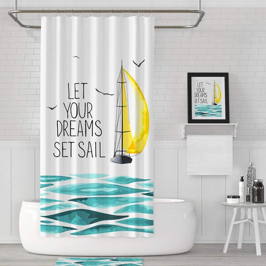 GouuoHi Home Shower Curtain Nordic Partition Curtain Thickened Mildew Waterproof High-Grade Curtain Personality Printed Pattern Shower Curtain Bathroom Amenities (Color : 180 wide200 high)