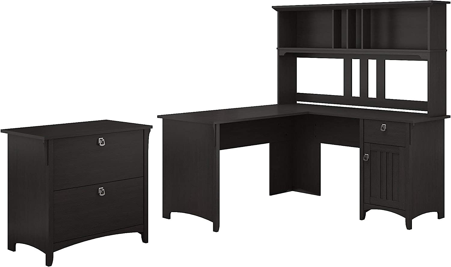 Bush Furniture Salinas 60W L Shaped Desk with Hutch and Lateral File Cabinet in Vintage Black