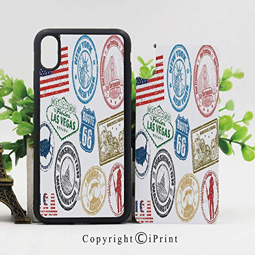 iPhone x Case,Grunge Stamps of America Las Vegas New York San Francisco Hawaii Illustration Sturdy Non-Slip Case Lightweight Shell Protective for iPhone X,Multicolor (Time Difference From New York To Las Vegas)