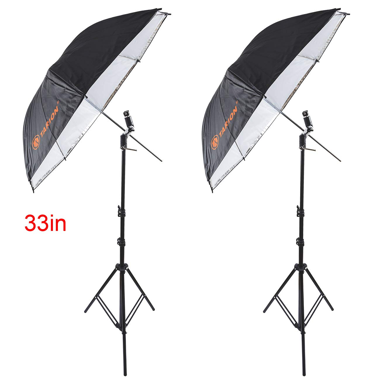TARION 33inch 2in1 Reflective Umbrella and Light Stand with Swivel Bracket & Shoe Mount Adapter Kit