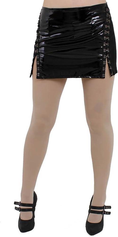 Pippa brillante PVC & Gomma gancho Mini falda Negro negro 42 ...