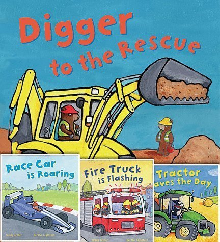 Busy Wheels Set of 4 Paperback Books By Mandy Archer Includes Race Car Is Roaring, Tractor Saves the Day, Fire Truck Is Flashing & Digger to the Rescue by archer (2014-05-03)