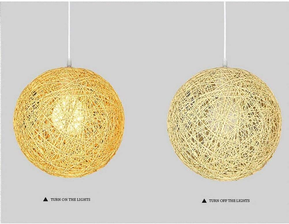 LGDD Moderno Crema Beige Lattice vimini Rattan Globe sfera del soffitto di stile ciondolo paralume Luce Lampadari A Bracci Lamp Shades semplice appuntamento fisso for Home Ristorante Bar Dimensioni