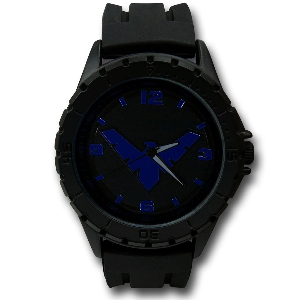 Nightwing Symbol Black Watch with Silicone Band
