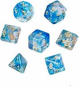 GWHOLE 7 Piezas Dados Poliédricos Dados para Juegos de rol y Mesa Dungeons y Dragons DND RPG MTG con Bolsa Negra (Transparente Azul): Amazon.es: Juguetes y juegos