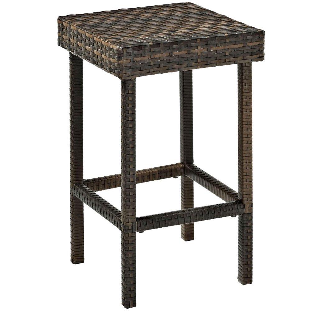 amazoncom crosley furniture palm harbor outdoor wicker 24inch stools brown set of 2 patio lawn u0026 garden