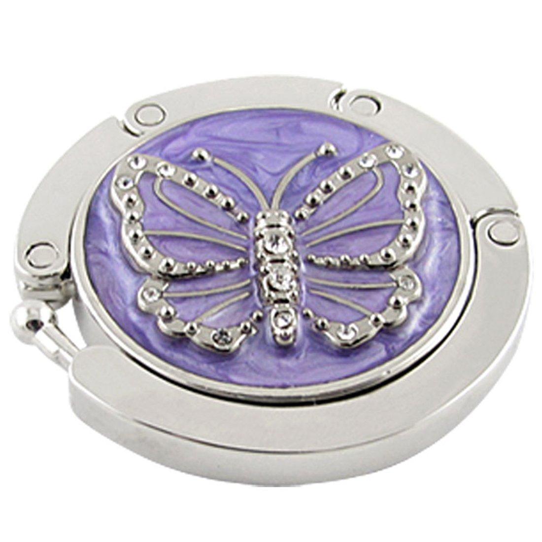 Sourcingmap - Accroche-Sac / Porte-Sac / Clip Sac à Main - Crochet Pliable - Papillon Violet