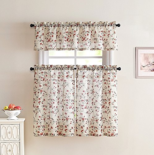Emeria Poly Linen Kitchen Window Curtains: Delicately Sketched Floral Print on Natural Style Weave (Red)