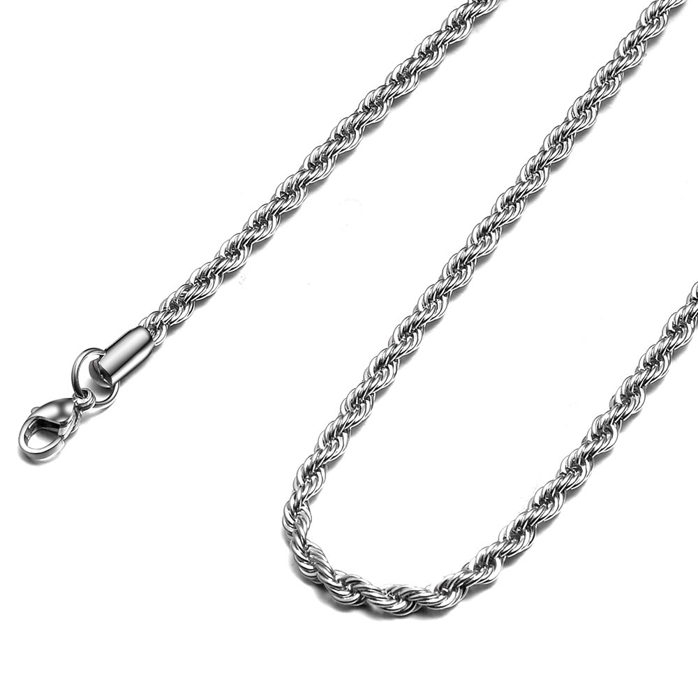 HolyFast 2-10mm Twist Chain Necklace Stainless Steel Necklace 16-38 Inches Men Women Jewellery JN00632SR031601