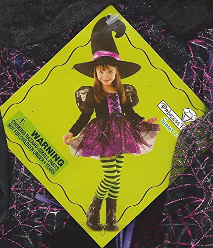 TeeTot Princess Factory Witch Costume Size 5-6 Dress Striped Leggings Hat - Green And Purple Striped Witch Child Costumes