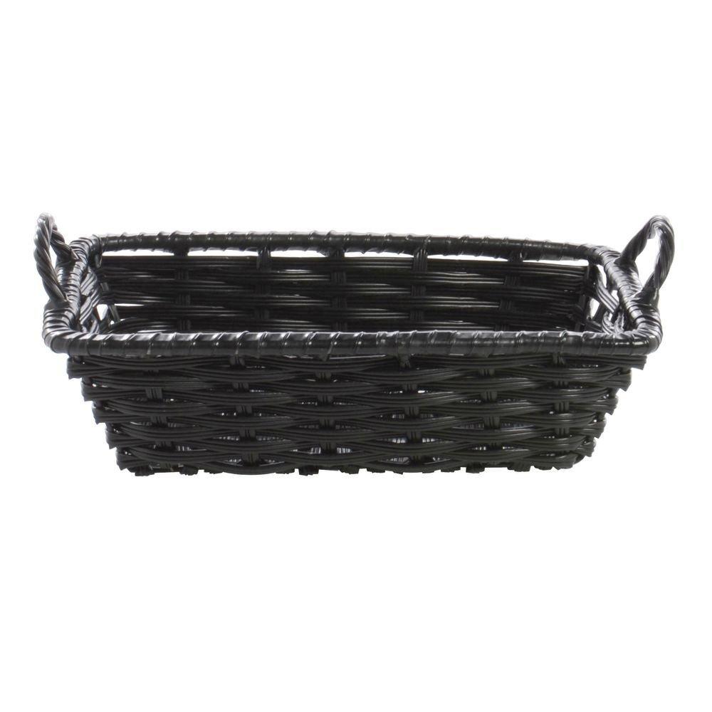 Black Plastic Wicker Storage Basket With Handles - 11' L x 8' W x 3' H Hubert