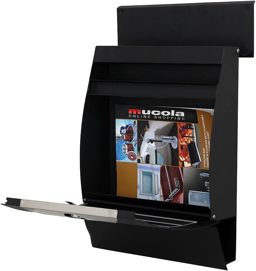 Melko Design Briefkasten halbrund mit Zeitungsbox Wandbriefkasten Schwarz mit Schutzklappe A4 Einwurf-Format wetterfeste Rostschutzlackierung