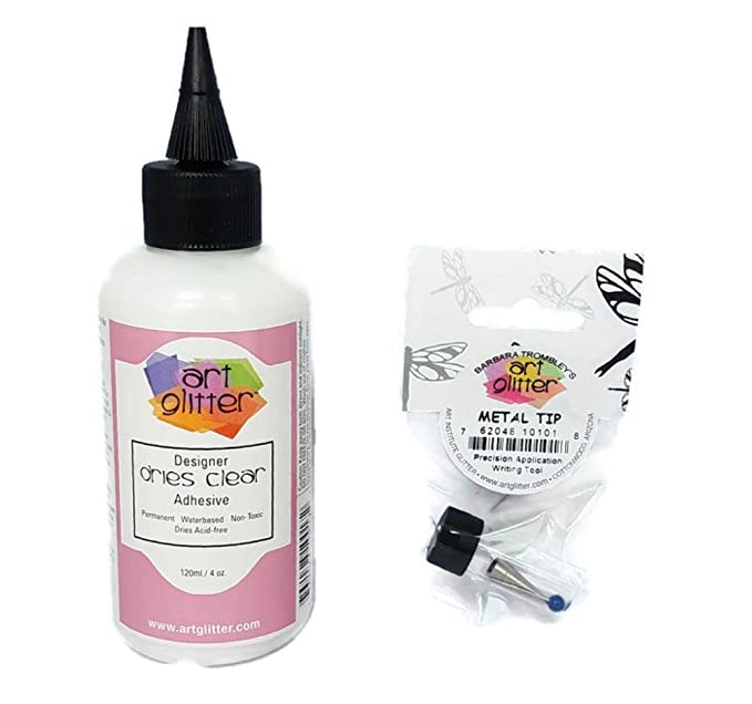 Art Glitter Glue Designer Dries Clear Adhesive 4 oz with Ultra Fine Metal Tip